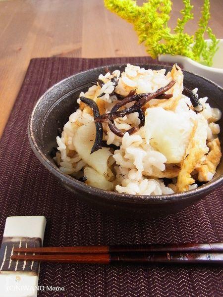 菊芋・ひじき・油揚げの炊き込みご飯