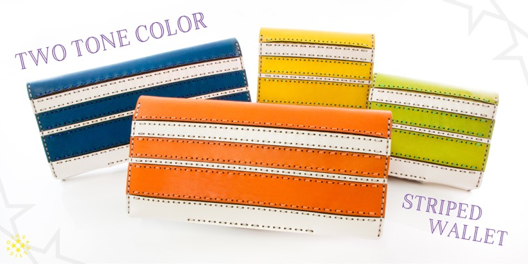 TWO TONE COLOR STRIPED WALLET