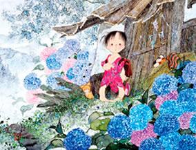 画像:5-6月 雨宿り 風の詩 中島潔作品集(フィルムカレンダー) 2017年版カレンダー
