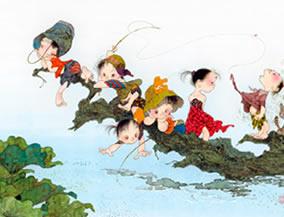 画像:7-8月 倒木と童 風の詩 中島潔作品集(フィルムカレンダー) 2017年版カレンダー