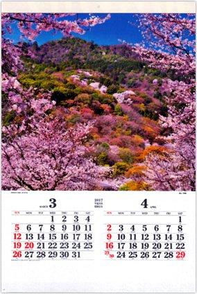 画像:3-4月 嵐山(京都) ワイドニッポン(フィルムカレンダー) 2017年版カレンダー