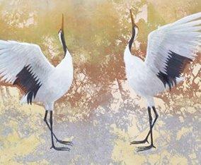 画像:鳥山玲 絵画作品「合掌鶴」11-12月 鳥山玲作品集 2017年版カレンダー