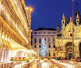 画像:写真「イタリアベニスのライトアップされた広場」/11-12月 世界の名勝(フィルムカレンダー・小) 2017年版カレンダー