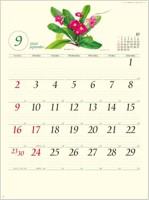 画像:9月 ボタニカルアート 2018年カレンダー