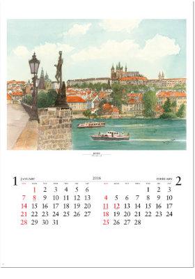 画像:1-2月 プラハ(チェコ) ヨーロッパ散歩道 2018年カレンダー