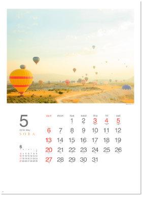 画像:5月 朝焼けの気球ツアー SORA -空- 2018年カレンダー