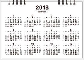 画像:14枚目裏面 卓上・カラーインデックス 2018年カレンダー