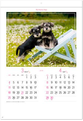 画像:3-4月 ミニチュア・シュナウザー マイスウィーティードッグ 2018年カレンダー