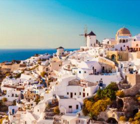画像:9-10月 サントリーニ島(ギリシャ) ヨーロッパの旅 2018年カレンダー