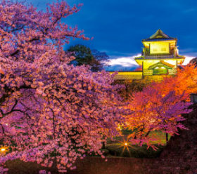 画像:3-4月 金沢城(石川) ジャパンナイトシーン 2018年カレンダー