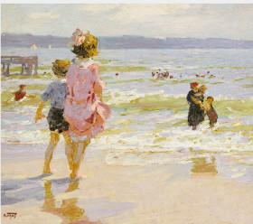 画像:7-8月 エドワード・ヘンリー・ポットハスト作品「海辺で」 ヒーリングアート 2018年カレンダー
