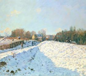 画像:11-12月 アルフレッド・シスレー「アルジャントゥイユ、雪の効果」 ヒーリングアート 2018年カレンダー