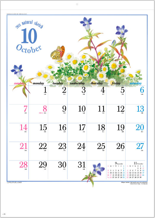 画像:10月 リンドウとアシズリノジギク ナチュラルスケッチ 2018年カレンダー