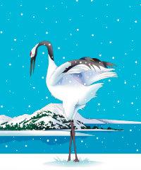 画像:12月 雪降り積もる湖畔に鶴 川野隆司作品集 2018年カレンダー