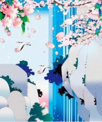 画像:4月 桜咲く滝に鶴 川野隆司作品集 2018年カレンダー