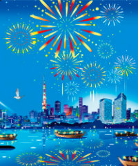画像:8月 東京湾花火 川野隆司作品集 2018年カレンダー