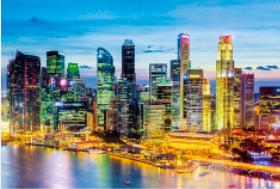 画像:6月 ラッフルズ・プレイス(シンガポール) エンドレスシティ・世界の夜景 2018年カレンダー