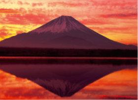 画像:1月 精進湖と富士山(山梨) 四季水景 2018年カレンダー
