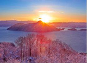 画像:2月 洞爺湖の朝景(北海道) 四季水景 2018年カレンダー