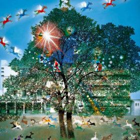 画像:5-6月 光陰の中の巣立つ仔馬たち 藤城清治 遠い日の風景から(影絵) 2018年カレンダー