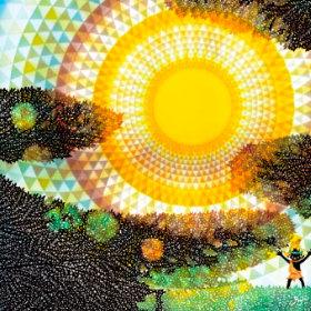 画像:7-8月 太陽とコロポックル 藤城清治 遠い日の風景から(影絵) 2018年カレンダー
