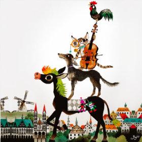 画像:9-10月 ブレーメンの音楽隊 藤城清治 遠い日の風景から(影絵) 2018年カレンダー