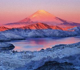 画像:1-2月 大観山より雪の芦ノ湖と富士山(神奈川) 四季彩峰 2018年カレンダー