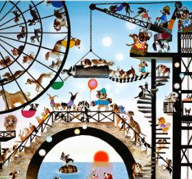 画像:1-2月 藤城清治作品「ワンワン共和国」 遠い日の風景から(影絵)(フィルムカレンダー) 2018年カレンダー