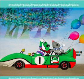 画像:3-4月 藤城清治作品「ケロヨンとモグちゃんのデート」 遠い日の風景から(影絵)(フィルムカレンダー) 2018年カレンダー