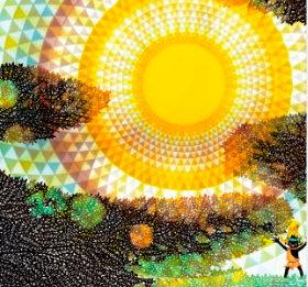画像:7-8月 藤城清治作品「太陽とコロポックル」 遠い日の風景から(影絵)(フィルムカレンダー) 2018年カレンダー