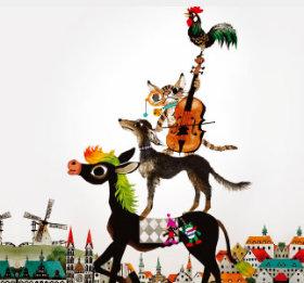 画像:9-10月 藤城清治作品「ブレーメンの音楽隊」 遠い日の風景から(影絵)(フィルムカレンダー) 2018年カレンダー