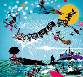 画像:11-12月 藤城清治作品「夢の中の1年」 遠い日の風景から(影絵)(フィルムカレンダー) 2018年カレンダー