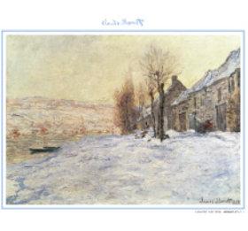 画像:11-12月 雪に覆われたラヴァクール モネ絵画集(フィルムカレンダー) 2018年カレンダー
