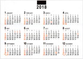 画像:12月裏面の年表 デスクスタンド・文字 2018年カレンダー