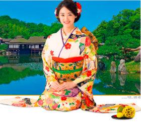 画像:1-2月 古泉葵(玄宮園/滋賀) 女優・きものと庭園 2018年カレンダー