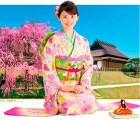 画像:3-4月 おのののか(岡山後楽園/岡山) 女優・きものと庭園 2018年カレンダー