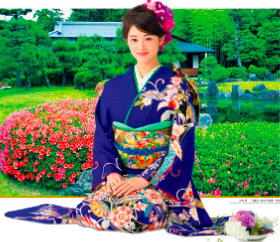 画像:5-6月 古泉葵(清流園/京都) 女優・きものと庭園 2018年カレンダー