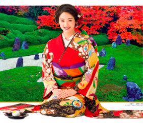 画像:9-10月 古泉葵(光明院/京都) 女優・きものと庭園 2018年カレンダー