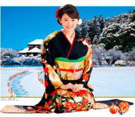 画像:11-12月 おのののか(偕楽園/茨城) 女優・きものと庭園 2018年カレンダー