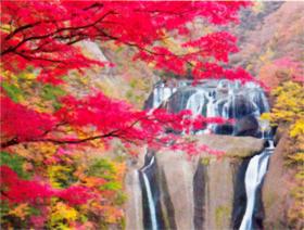 画像:10-11月 袋田の滝(茨城) 彩り日本(12月はじまり) 2018年カレンダー