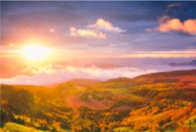 画像:10月 芳ヶ平(群馬) 輝く太陽 2018年カレンダー