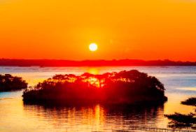 11月 松島(宮城) 輝く太陽 2018年カレンダーの画像