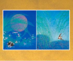 画像:5-6月 初夏の夢 青柳に燕 花鳥諷詠 石踊達哉 2018年カレンダー
