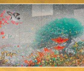 画像:11-12月 雪中雪持残菊図 花鳥諷詠 石踊達哉 2018年カレンダー