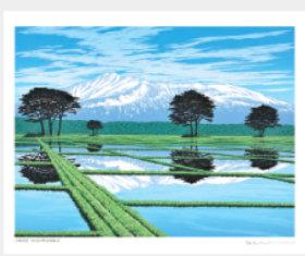 画像:小暮真望 3-4月「水田に映る鳥海山」 小暮真望版画集 2018年カレンダー