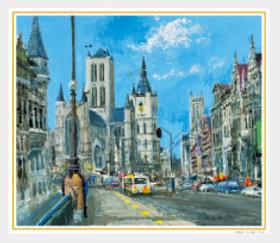 画像:1-2月 ゲントの通り(ベルギー) 欧羅巴を描く 小田切訓 2018年カレンダー