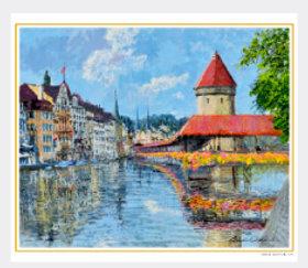 画像:3-4月 花のカペル橋(スイス) 欧羅巴を描く 小田切訓 2018年カレンダー