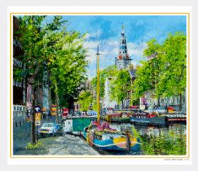 画像:5-6月 南教会のある運河(オランダ) 欧羅巴を描く 小田切訓 2018年カレンダー