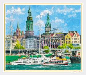 7-8月 ハンブルク港(ドイツ) 欧羅巴を描く 小田切訓 2018年カレンダーの画像
