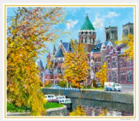 画像:9-10月 河畔の聖堂(オランダ) 欧羅巴を描く 小田切訓 2018年カレンダー